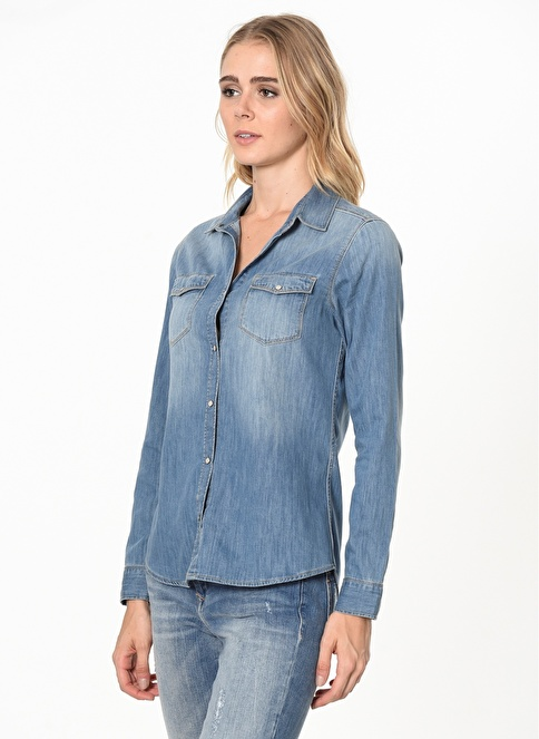Mavi Jean Gömlek | Isabel - Dar Kesim Renkli